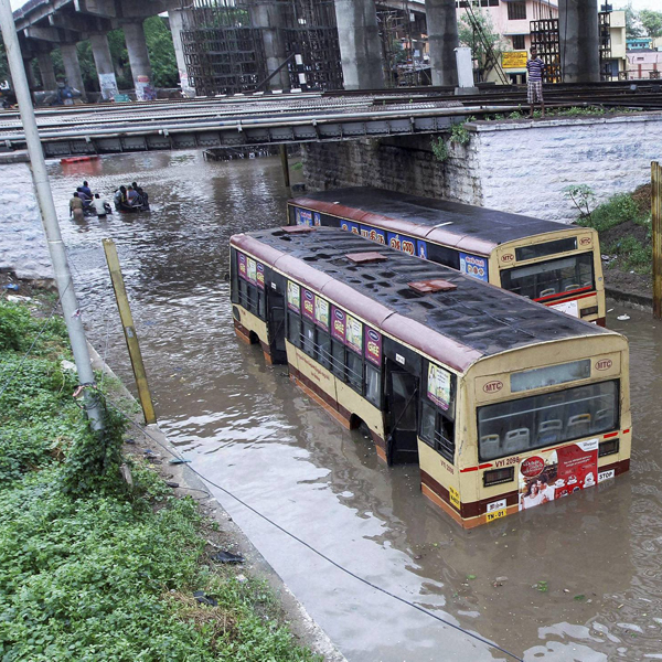Chennai: A waterlogged subway after heavy rains in Chennai on Monday. Heavy rains continue to lash several parts of the city as the Meteorological Department alerted a cyclone warning on the Bay of Bengal coast. PTI Photo (PTI11_9_2015_000245B)